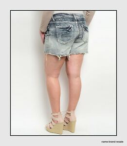 1236f8dd906 NEW Denim Cutoff Jean SHORTS Womens PLUS Size 14 1X XL Dip Dye Ombre ...