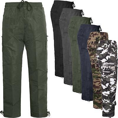 Mens Big Size Fleece Lined Cargo Pant Winter Insulated Army Trouser Thermal
