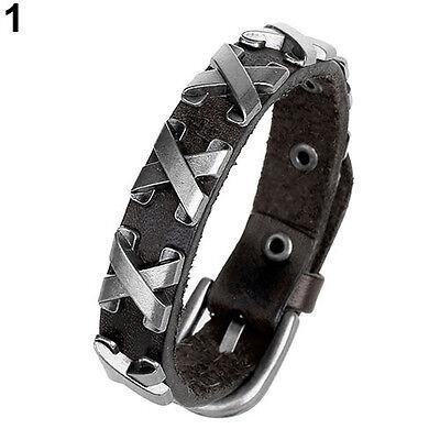 Fashion Women Men Punk Leather Bangle Alloy Wristband Cuff Bracelet Jewelry