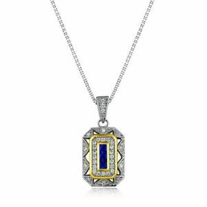 Vintage-Blue-Sapphire-White-Cz-925-Sterling-Silver-Pendant-18-034-Chain-Necklace
