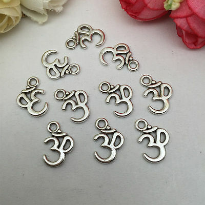 OHM OM Tibetan Silver Bead charms Pendants fit bracelet 20pcs 16*12mm