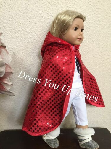 """18/"""" red sequin doll cape with hood fits 18/"""" American girl doll dressyouupbows"""