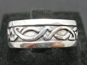 Solido-anillo-de-plata-esterlina-925-Celta-Banda-Tamano-L-Z