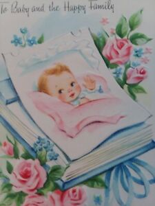 UNUSED-Vtg-1950s-BABY-and-Happy-Family-CONGRATULATIONS-GREETING-CARD