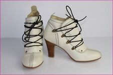 Bottines Boots ANDRE Cuir Ivoire T 38 TTBE