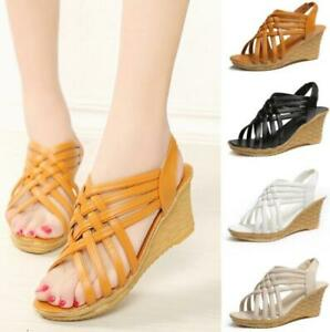 Womens-Open-Toe-Sandals-Slip-Ons-Slippers-Shoes-Hollow-Out-High-Wedge-Heel-Size