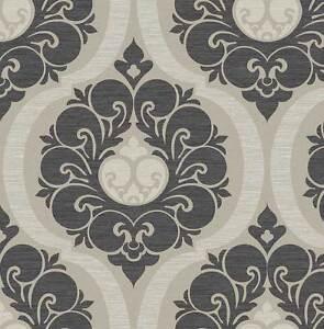 Tapete-Designtapete-Stoffoptik-Ornamente-floral-Glanz-Sand-Taupe-Schwarz