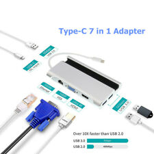 7 in 1 USB-C 4K HDMI VGA Rj45 Ethernet 3 USB 3.0 Port Type C Adapter Cable Hub