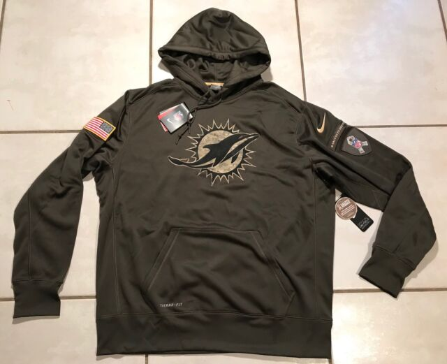 NWT NIKE Miami Dolphins SALUTE TO SERVICE 2015 NFL Pullover Hoodie Men s  Large d5b0dd9cb