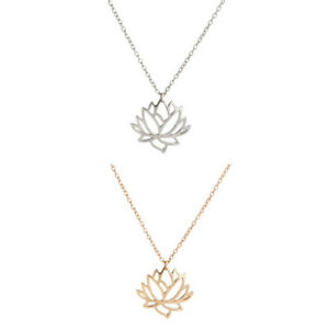 Lotus Pendant Necklace Silver Or Gold Lotus Flower Necklace Ebay
