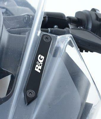 R&G RACING BLACK MIRROR BLANKING PLATES for KTM RC390, 2014 to 2017