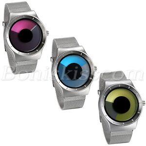 Men-039-s-Creative-Stainless-Steel-Mesh-Band-Unique-Vortex-Dial-Quartz-Wrist-Watch