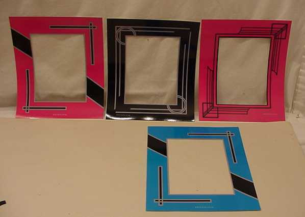 8 ART DECO REVERSE STYLE PAINTED PICTURE FRAME MATS LOT 2