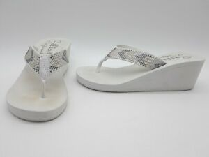 317be401a Image is loading Callisto-Jester-Women-Shoes-Thong-Platform-Wedge-White-