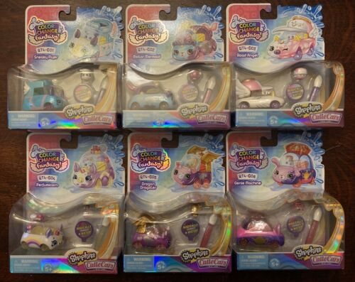 Lot Of 6 New Shopkins Cutie Cars Color Change Series Q4-1,2,3,4,5,8