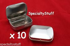 10 NEW BLANK EMPTY MINI CURVED TOP HINGED RECTANGULAR TIN CAN SURVIVAL CRAFT 1oz