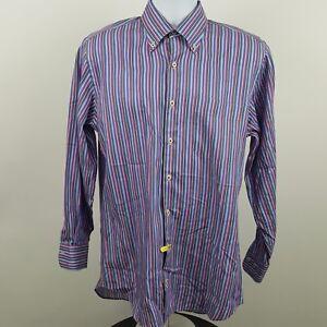 Peter-Millar-Blue-Pink-Brown-Striped-Men-039-s-L-S-Casual-Button-Shirt-Sz-Medium-M