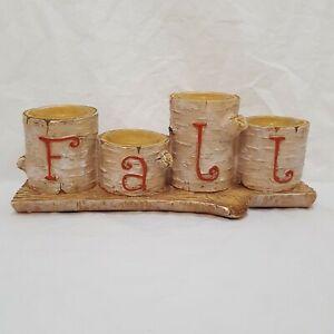 Birch-Tree-Log-Fall-Tea-Light-Candle-Holder-3-034-Beige-Resin-Cabin-Yankee-Candle