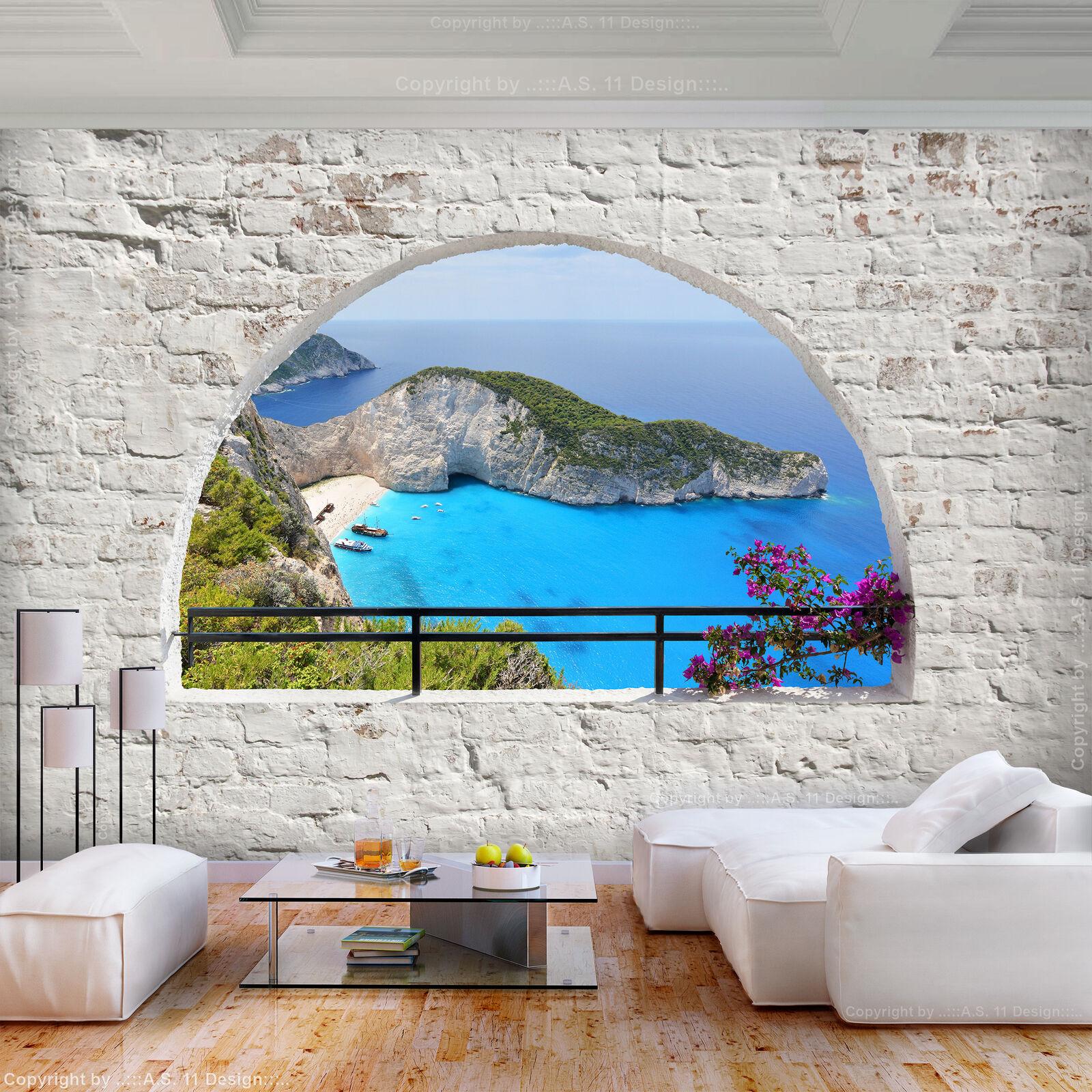 FOTOTAPETE selbstklebend Tapete Steinwand Strand Fenster Wandtapete Wohnzimmer