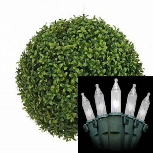 20  Artificial Boxwood Ball Topiary In Outdoor with Christmas Light Tree Plant