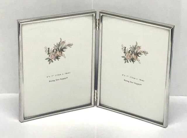 3.5x5 4x5 4x6 5x7  Antique Gold Double Hinged Vertical Wood Picture Frame New