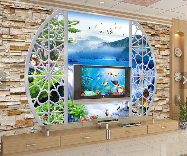 3D Mountain Lake Flying Bird Paper Wall Print Wall Decal Wall Deco Indoor Murals
