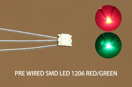 DT1206RG 20pc Presoldered litz wired leads Bicolor REDGREEN SMD Led 1206 DUAL