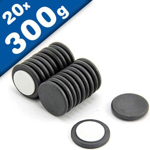hält 300g Keramik-Magnet 20 x Scheibenmagnet selbstklebend Ø22 x 2mm Ferrit Y35