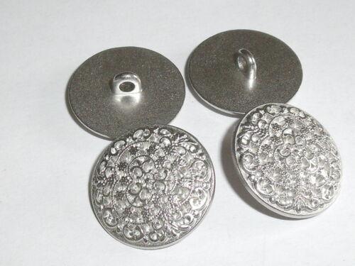 5 Stück Metallknöpfe Knopf  Knöpfe Ösenknopf  23 mm silber NEUWARE 0338