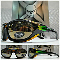 Motorcycle Biker Day Riding Choppers Padded Sun Glasses Goggles Green Flames