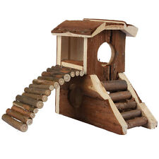 Hamster Mouse Guinea Pig Duplex Wooden House Villa Cage With Ladder Exercise Toy