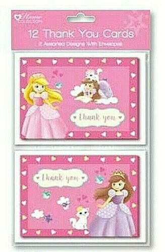 Princess THANK YOU CARDS 12 envelopes birthday party girl boy kids pack of 12