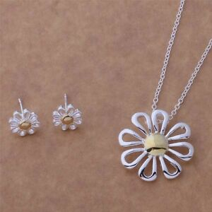 Daisy-Pendant-Necklace-and-Earrings-Set-925-Sterling-Silver-NEW
