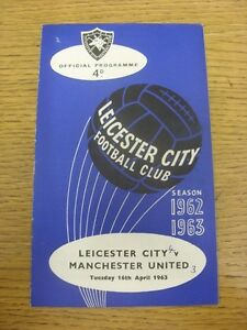 16-04-1963-Leicester-City-v-Manchester-United-Faint-Crease-Small-Hole-To-Corn