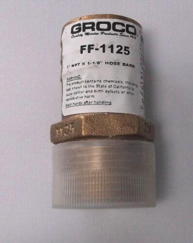 "Groco Brand Heavy Duty Bronze 1/"" NPT X 1-1//8/"" Hose Barb Adapter FF-1125"