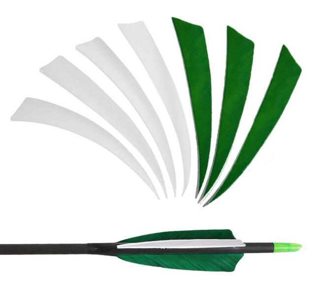 "36//60pcs 5/"" Archery Arrow Fletching Left Wing White Color Turkey Feather"