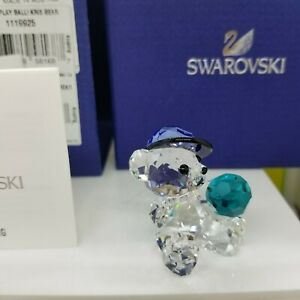 Swarovski-Kris-Bear-with-Blue-Ball-Let-039-s-Play-Ball-Signed-Piece