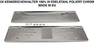 2x-Kennzeichenhalter-Nummernschildhalter-Edelstahl-Chrom-Rostfrei-Made-in-EU-60