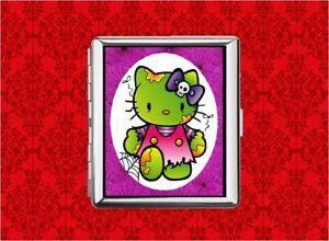HELLO-ZOMBIE-KITTY-CAT-WEB-SKULL-METAL-WALLET-CARD-CIGARETTE-ID-IPOD-CASE