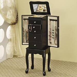 Black Finish Queen Anne Style Jewelry Storage Armoire by Coaster