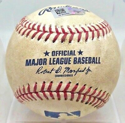 DANSBY SWANSON DOUBLE + JULIO TEHERAN RBI SINGLE GAME-USED BASEBALL BRAVES MLB