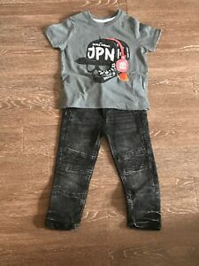 New Boys Top and Shorts Outfit 2 Pieces Summer Set Shirt T-shirt Pants 3-6y #140