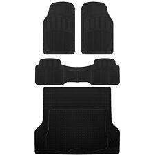 CarXS Proliners Custom Rubber Floor Mats Black-4pc Heavy Duty Diamond Grid