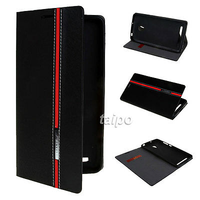 For Asus Zenfone 5 Luxury PU Leather Stand Flip Card Holder Case Cover Black