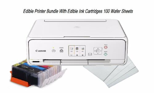 Edible Canon TS5020//TS6020 LED Gray Printer Bundle,Refil Edible Ink,Icing Sheets