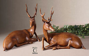 TWO LARGE ANTLER DEER FIGURINES TABLE TOP ART STATUE CONTEMPORARY RUSTIC