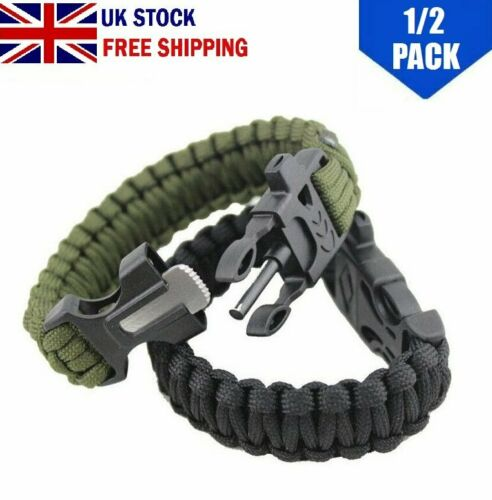 Paracord Survival Bracelet Scraper Whistle Flint Fire Starter Gear Outdoor UK