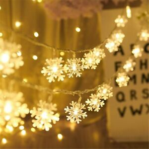 Details About Led Snowflake Christmas Fairy Lamp Lights Decoration For Wedding Party Home