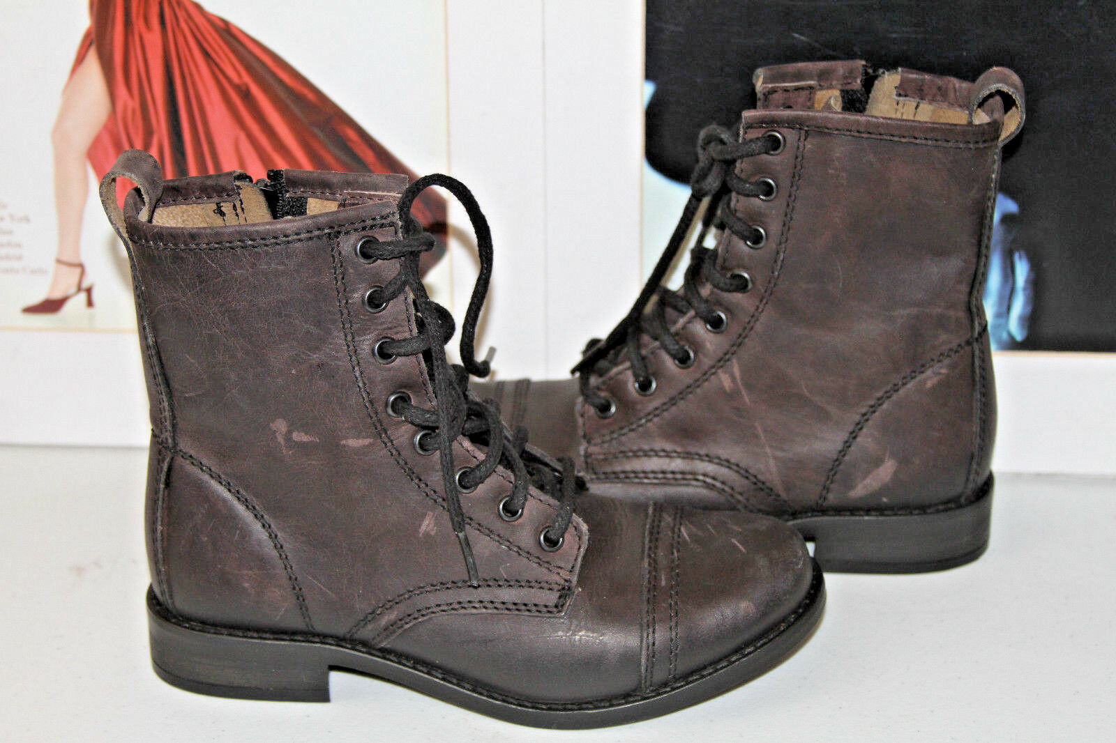 77 STEVE MADDEN CHARRIE COMBAT DISTRESSED nero ANKLE stivali  SZ 6  MSRP 195