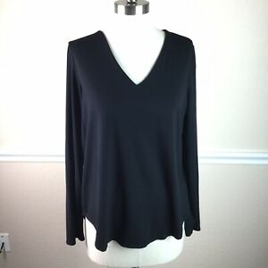 Eileen-Fisher-Womens-Top-Black-V-Neck-Long-Sleeve-Curved-Hem-Stretch-Size-L